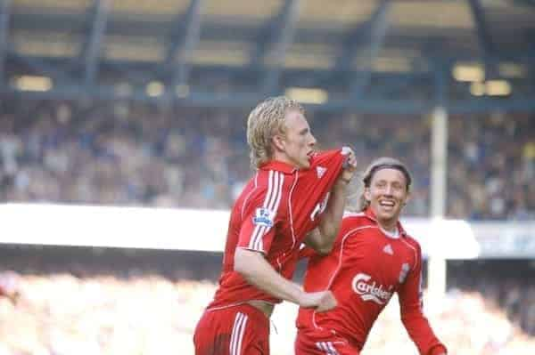 Liverpool, England - Saturday, October 20, 2007: Liverpool's Dirk Kuyt celebrates scoring the winning goal from the penalty spot against Everton with team-mate Lucas Levia during the 206th Merseyside Derby match at Goodison Park. (Photo by David Rawcliffe/Propaganda)