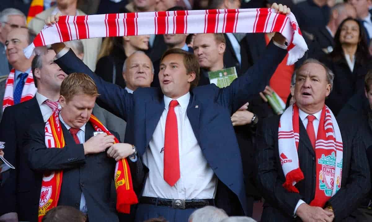 LIVERPOOL, ENGLAND - Sunday, October 28, 2007: Tom Hicks Junior, son of Liverpool's co-owner Tom Hicks holds his scarf aloft to sing 'You'll Never Walk Alone' next to his father during the Premiership match against Arsenal at Anfield. (Photo by David Rawcliffe/Propaganda)