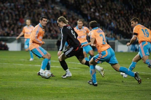 MARSEILLE, FRANCE - Tuesday, December 11, 2007: Liverpool's Fernando Torres on his way to scoring the second goal against Olympique de Marseille during the final UEFA Champions League Group A match at the Stade Velodrome. (Photo by David Rawcliffe/Propaganda)
