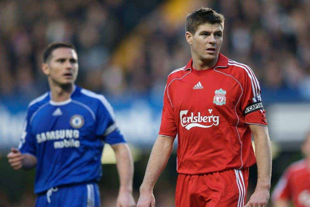 LONDON, ENGLAND - Sunday, February 10, 2008: Liverpool's captain Steven Gerrard MBE and Chelsea's Frank Lampard during the Premiership match at Stamford Bridge. (Photo by David Rawcliffe/Propaganda)