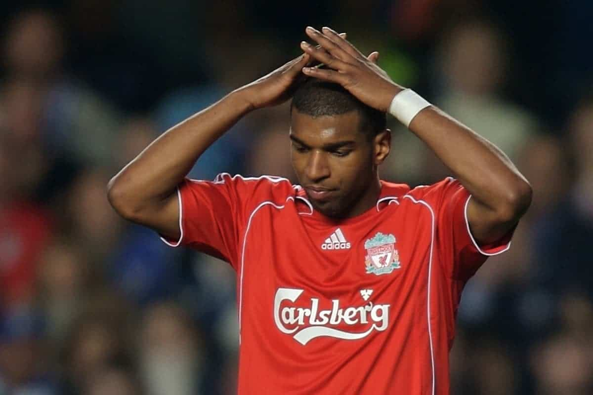 LONDON, ENGLAND - Sunday, February 10, 2008: Liverpool's Ryan Babel rues his missed chance against Chelsea during the Premiership match at Stamford Bridge. (Photo by David Rawcliffe/Propaganda)