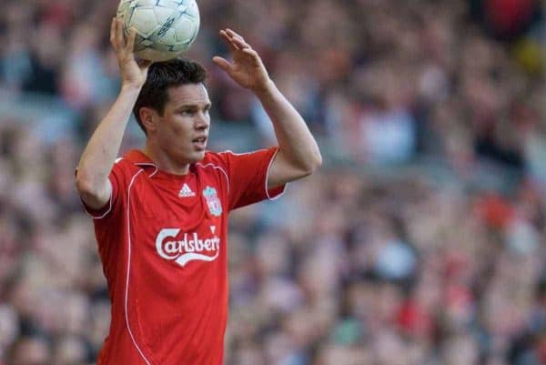 LIVERPOOL, ENGLAND - Saturday, February 16, 2008: Liverpool's Steve Finnan during the FA Cup 5th Round match against Barnsley at Anfield. (Photo by David Rawcliffe/Propaganda)