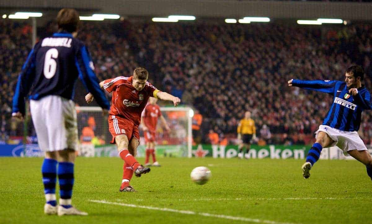 LIVERPOOL, ENGLAND - Tuesday, February 19, 2008: Liverpool's captain Steven Gerrard MBE scores the second goal against FC Internazionale Milano in the UEFA Champions League First Knockout Round 1st Leg match at Anfield. (Photo by David Rawcliffe/Propaganda)