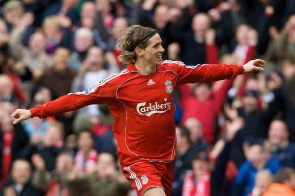 LIVERPOOL, ENGLAND - Saturday, February 23, 2008: Liverpool's Fernando Torres celebrates scoring his hat-trick goal against Middlesbrough during the Premiership match at Anfield. (Photo by David Rawcliffe/Propaganda)
