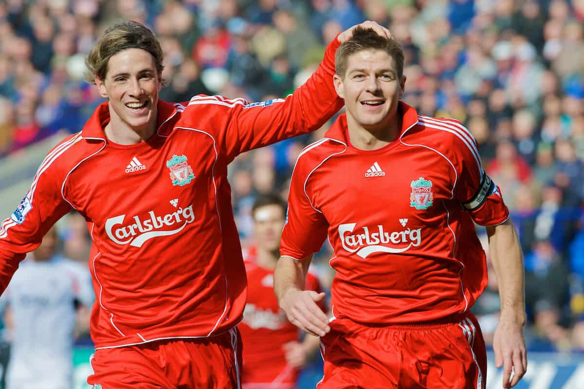 BOLTON, ENGLAND - Sunday, March 2, 2008: Liverpool's captain Steven Gerrard MBE celebrates scoring the opening goal against Bolton Wanderers with team-mate Fernando Torres during the Premiership match at the Reebok Stadium. (Photo by David Rawcliffe/Propaganda)