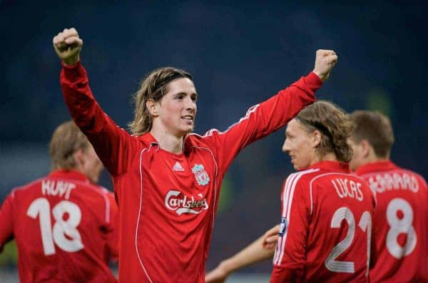 MILAN, ITALY - Tuesday, March 10, 2008: Liverpool's Fernando Torres celebrates the opening goal against FC Internazionale Milano during the UEFA Champions League First knockout Round 2nd Leg match at the San Siro. (Pic by David Rawcliffe/Propaganda)