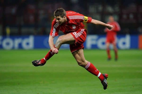 MILAN, ITALY - Tuesday, March 10, 2008: Liverpool's captain Steven Gerrard MBE in action against FC Internazionale Milano during the UEFA Champions League First knockout Round 2nd Leg match at the San Siro. (Pic by Andrea Staccioli/Propaganda)