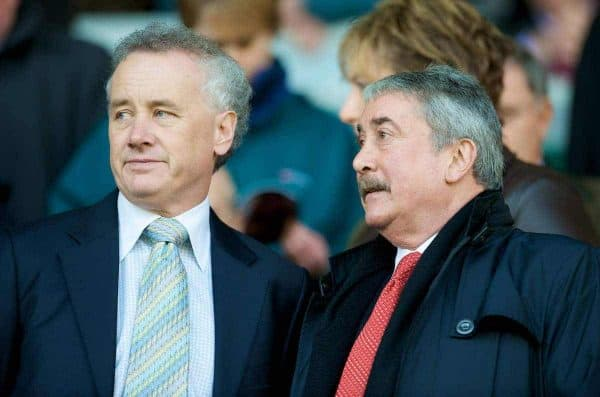 LIVERPOOL, ENGLAND - Sunday, March 30, 2008: Liverpool's Chief-Executive Rick Parry and Honorary Life President David Moores during the 207th Merseyside derby, in the Premiership match at Anfield. (Photo by David Rawcliffe/Propaganda)