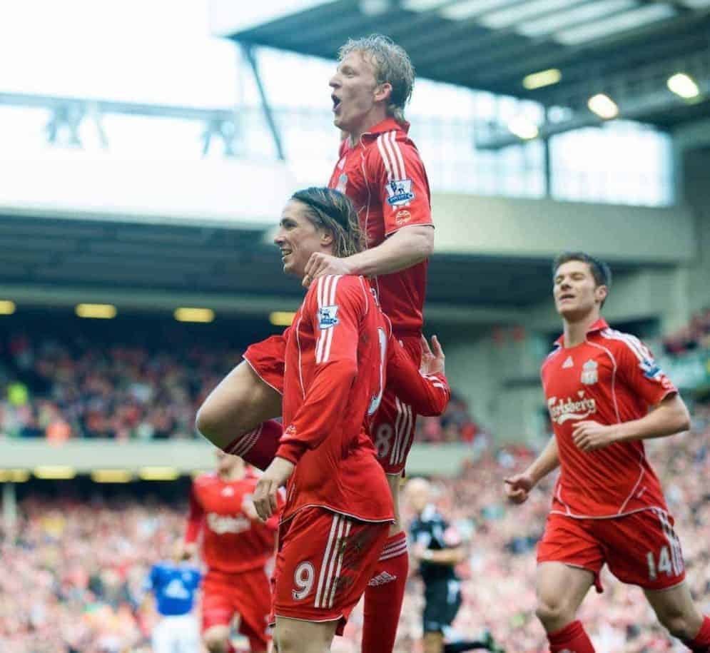 LIVERPOOL, ENGLAND - Sunday, March 30, 2008: Liverpool's Fernando Torres celebates scoring the only goal of the game, with team-mate Dirk Kuyt, against Everton during the 207th Merseyside derby, in the Premiership match at Anfield. (Photo by David Rawcliffe/Propaganda)