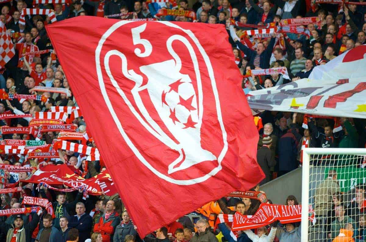 LIVERPOOL, ENGLAND - Tuesday, April 8, 2008: Liverpool's Spion Kop before the UEFA Champions League Quarter-Final 2nd Leg match against Arsenal at Anfield. (Photo by David Rawcliffe/Propaganda)