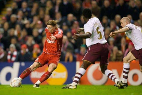 LIVERPOOL, ENGLAND - Tuesday, April 8, 2008: Liverpool's Fernando Torres turns to score the second goal against Arsenal during the UEFA Champions League Quarter-Final 2nd Leg match at Anfield. (Photo by David Rawcliffe/Propaganda)