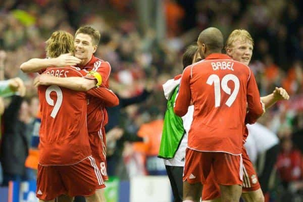 LIVERPOOL, ENGLAND - Tuesday, April 8, 2008: Liverpool's captain Steven Gerrard MBE and Fernando Torres celebrate after Gerrard's penalty made it 3-2 during the UEFA Champions League Quarter-Final 2nd Leg match against Arsenal at Anfield. (Photo by David Rawcliffe/Propaganda)