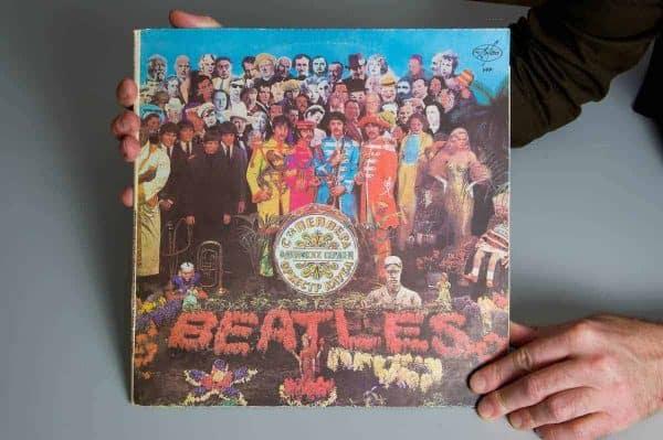 The cover of a Russian copy of the Beatles' Sgt Pepper's Lonely Hearts Club Band album, featuring an image of Liverpool FC player Albert Stubbins. This is one of Stephen Done's Kop Ten items. Stephen is the curator of the Liverpool FC museum. (Pic by David Rawcliffe/Propaganda)