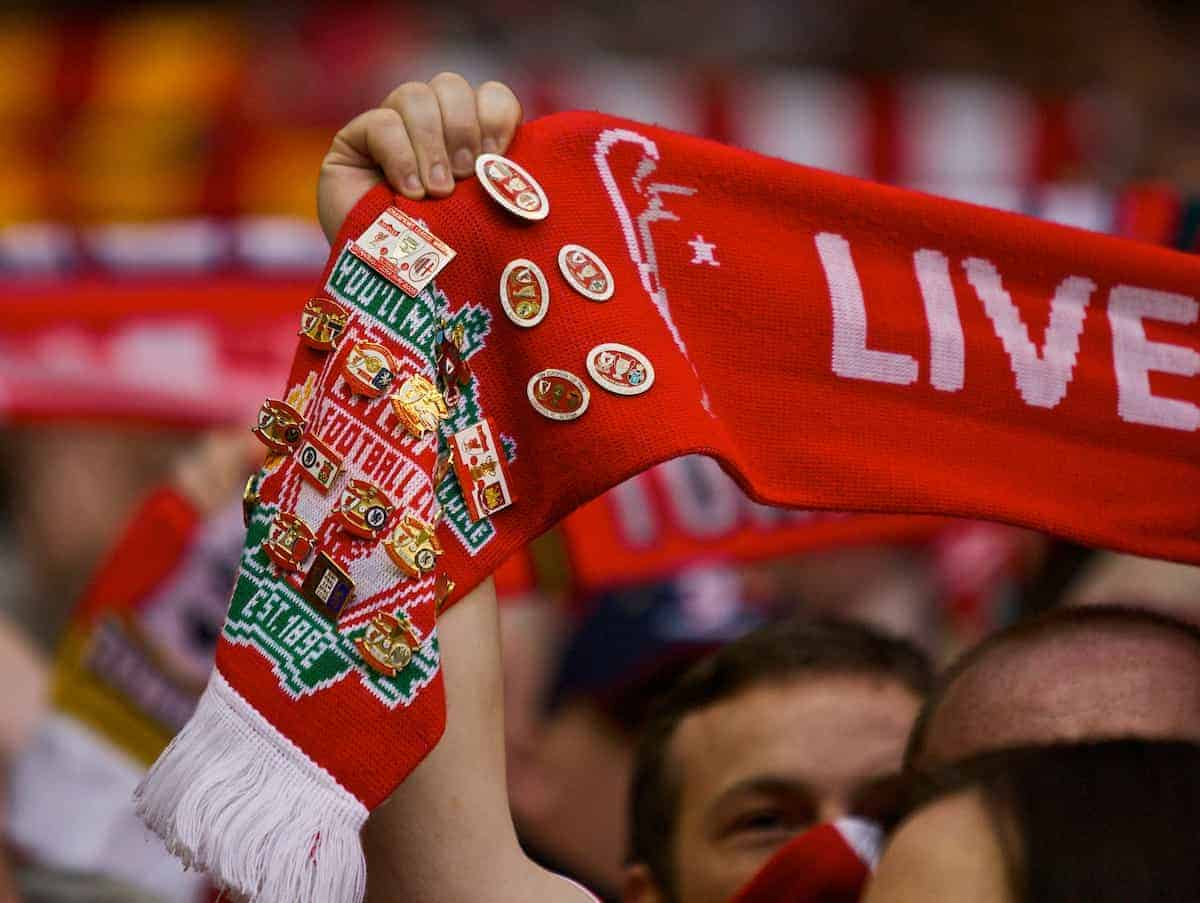 LIVERPOOL, ENGLAND - Sunday, May 4, 2008: A Liverpool fans' scarf with pin badges during the Premiership match at Anfield. (Photo by David Rawcliffe/Propaganda)