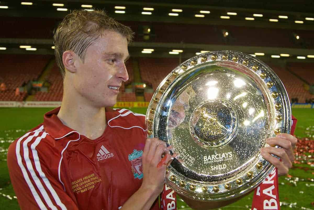 LIVERPOOL, ENGLAND - Wednesday, May 7, 2008: Liverpool's captain Stephen Darby celebrates with the trophy after beating Aston Villa 3-0 during the play-off final of the FA Premier League Reserve League at Anfield. (Photo by David Rawcliffe/Propaganda)