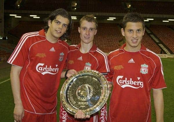 LIVERPOOL, ENGLAND - Wednesday, May 7, 2008: Liverpool's goalscorers Jordy Brouwer (L) and Krisztian Nemeth (R) with captain Stephen Darby (C) celebrates with the trophy after beating Aston Villa 3-0 during the play-off final of the FA Premier League Reserve League at Anfield. (Photo by David Rawcliffe/Propaganda)
