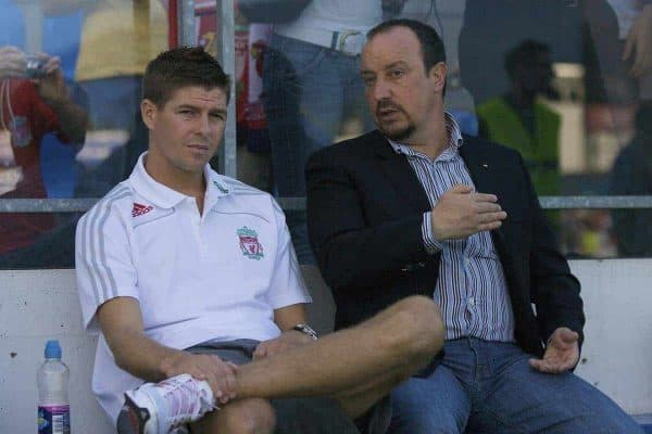 GRENCHEN, SWITZERLAND - Wednesday, July 16, 2008: Liverpool's captain Steven Gerrard MBE and manager Rafael Benitez during a pre-season friendly at Stadion Bruhl. (Photo by David Rawcliffe/Propaganda)
