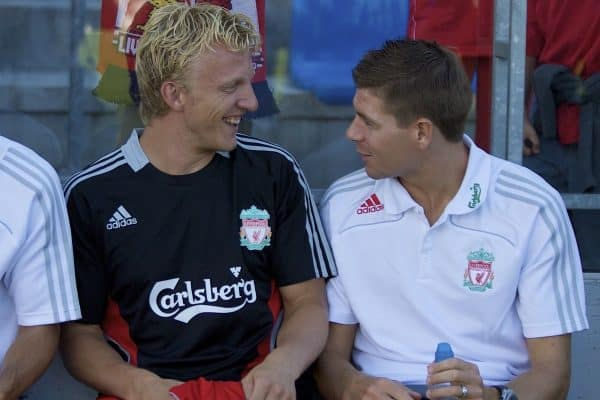GRENCHEN, SWITZERLAND - Wednesday, July 16, 2008: Liverpool's Dirk Kuyt and captain Steven Gerrard MBE before a pre-season friendly at Stadion Bruhl. (Photo by David Rawcliffe/Propaganda)