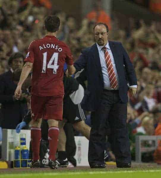 LIVERPOOL, ENGLAND - Friday, August 8, 2008: Liverpool's Xabi Alonso shaks hands with manager Rafael Benitez after being substituted during a pre-season friendly match against SS Lazio at Anfield. (Photo by David Rawcliffe/Propaganda)