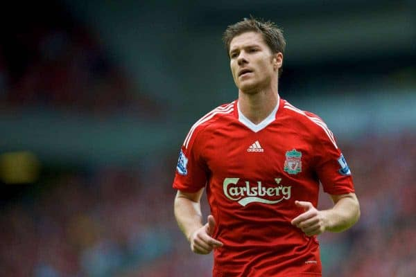 LIVERPOOL, ENGLAND - Saturday, August 23, 2008: Liverpool's Xabi Alonso against Middlesbrough during the Premiership match at Anfield. (Photo by David Rawcliffe/Propaganda)
