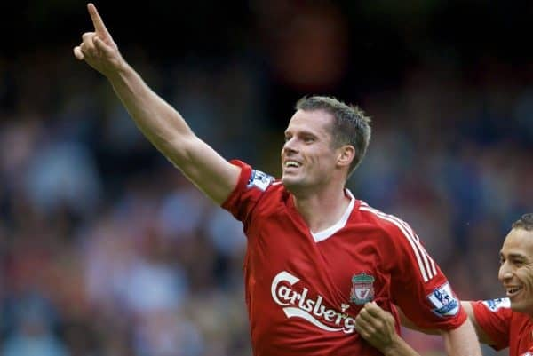 Liverpool's Jamie Carragher celebrates scoring the equaliser against Middlesbrough with team-mate Nabil El Zhar during the Premiership match at Anfield. (Photo by David Rawcliffe/Propaganda)