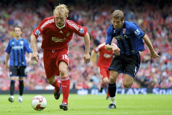 LIVERPOOL, ENGLAND - Saturday, August 23, 2008: Liverpool's Dirk Kuyt and Middlesbrough's Gary O'Neil during the Premiership match at Anfield. (Photo by David Rawcliffe/Propaganda)