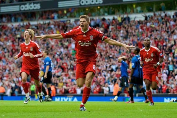 LIVERPOOL, ENGLAND - Saturday, August 23, 2008: Liverpool's match-winner captain Steven Gerrard MBE celebrates his late goal to seal victory over Middlesbrough during the Premiership match at Anfield. (Photo by David Rawcliffe/Propaganda)