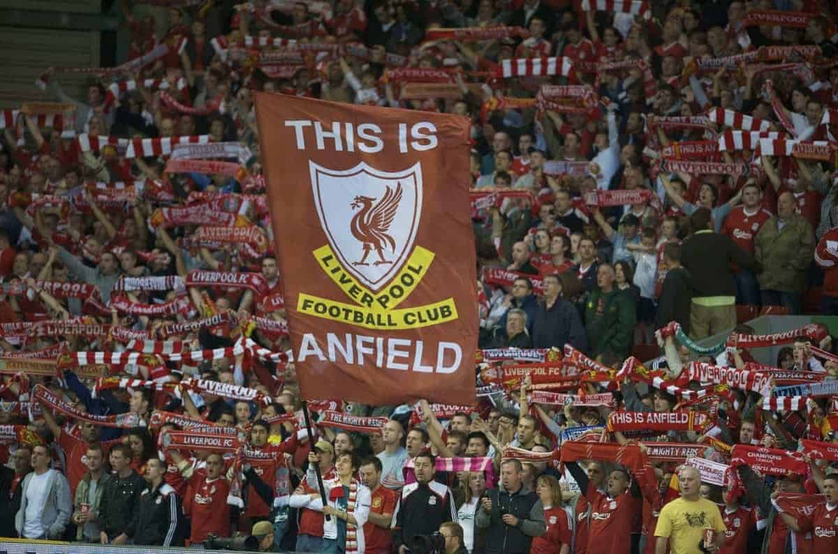 LIVERPOOL, ENGLAND - Wednesday, August 27, 2008: Liverpool supporters on the Spion Kop during the UEFA Champions League 3rd Qualifying Round 2nd Leg match against Royal Standard de Liege at Anfield. (Photo by David Rawcliffe/Propaganda)