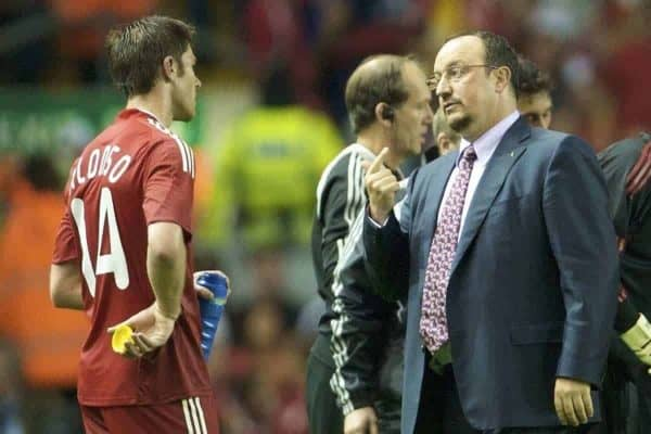 LIVERPOOL, ENGLAND - Wednesday, August 27, 2008: Liverpool's manager Rafael Benitez and Xabi Alonso during the UEFA Champions League 3rd Qualifying Round 2nd Leg match against Royal Standard de Liege at Anfield. (Photo by David Rawcliffe/Propaganda)