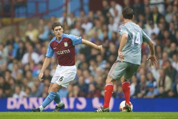 BIRMINGHAM, ENGLAND - Sunday, August 31, 2008: Aston Villa's Gareth Barry in action against Liverpool's Xabi Alonso during the Premiership match at Villa Park. (Photo by David Rawcliffe/Propaganda)
