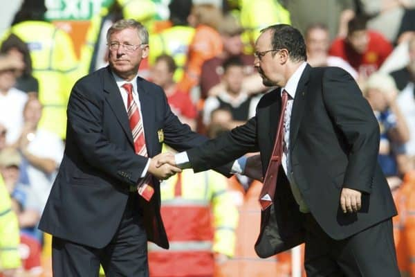 LIVERPOOL, ENGLAND - Saturday, September 13, 2008: Liverpool's manager Rafael Benitez shakes hands with a gutted Manchester United manager Alex Ferguson after Liverpool's 2-1 victory in the Premiership match at Anfield. (Photo by David Rawcliffe/Propaganda)