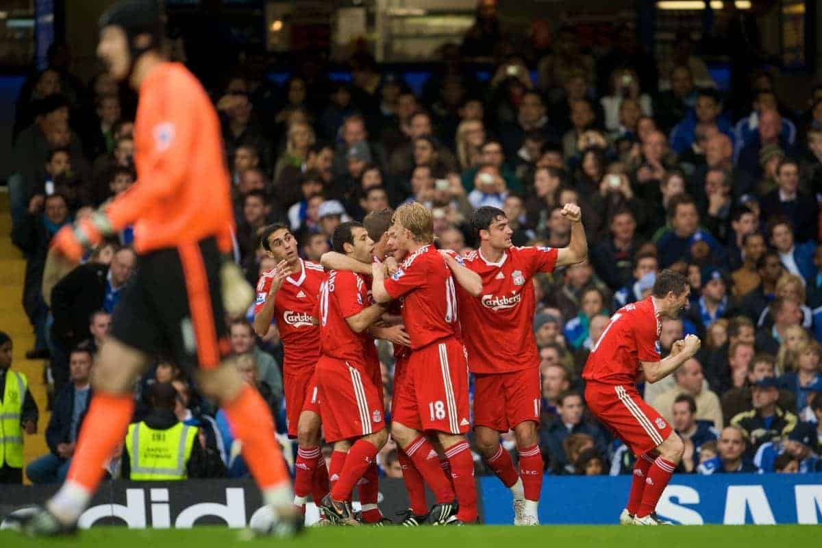 LONDON, ENGLAND - Sunday, October 26, 2008: Liverpool's players Dirk Kuyt, Albert Riera and Robbie Keane celebrates the opening goal against Chelsea scored by Xabi Alonso (hidden) during the Premiership match at Stamford Bridge. (Photo by David Rawcliffe/Propaganda)