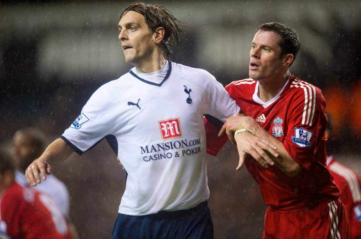 LONDON, ENGLAND - Saturday, November 1, 2008: Liverpool's Jamie Carragher and Tottenham Hotspur's Jonathan Woodgate during the Premiership match at White Hart Lane. (Photo by David Rawcliffe/Propaganda)