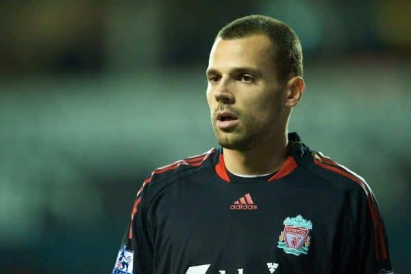 LONDON, ENGLAND - Wednesday, November 12, 2008: Liverpool's goalkeeper Diego Cavalieri in action against Tottenham Hotspur during the League Cup 4th Round match at White Hart Lane. (Photo by David Rawcliffe/Propaganda)