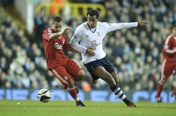 Liverpool's Nabil El Zhar in action against Tottenham Hotspur during the League Cup 4th Round match at White Hart Lane. (Photo by David Rawcliffe/Propaganda)
