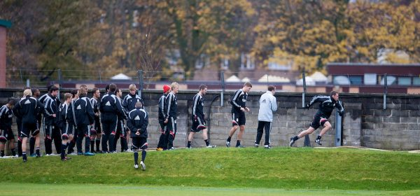 LIVERPOOL, ENGLAND - Friday, November 14, 2008: Liverpool's Jamie Carragher and Steven Gerrard lead their players running up a hill during a training session at the club's Melwood training ground. (Photo by David Rawcliffe/Propaganda)