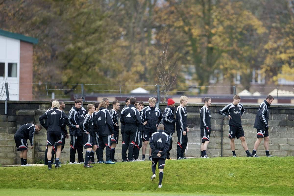 LIVERPOOL, ENGLAND - Friday, November 14, 2008: Liverpool players during a training session at the club's Melwood training ground. (Photo by David Rawcliffe/Propaganda)