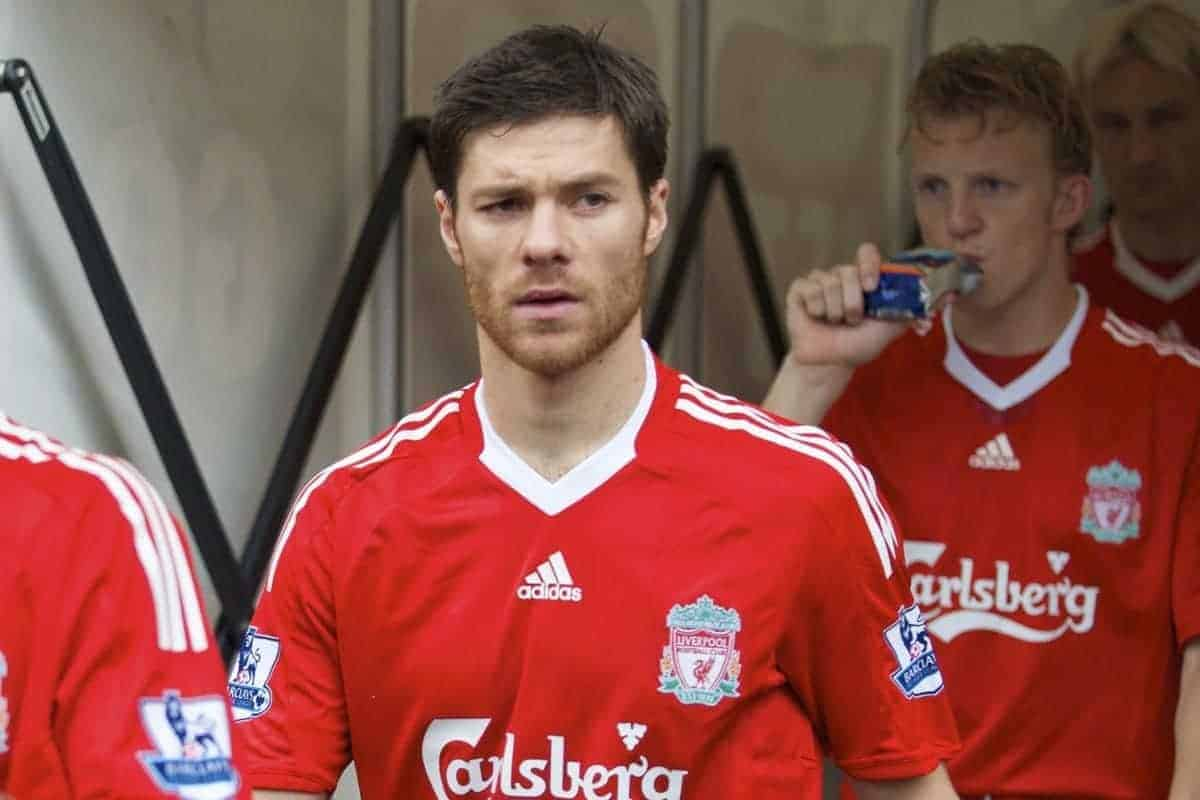 BOLTON, ENGLAND - Saturday, November 15, 2008: Liverpool's Xabi Alonso walks out to face Bolton Wanderers during the Premiership match at the Reebok Stadium. (Photo by David Rawcliffe/Propaganda)