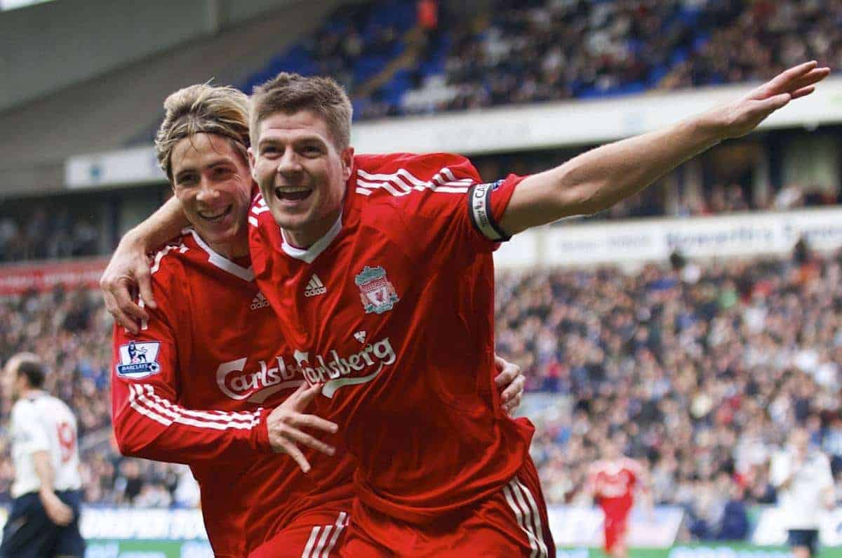 Liverpool's goalscorer captain Steven Gerrard MBE celebrates the second goal against Bolton Wanderers with team-mate Fernando Torres during the Premiership match at the Reebok Stadium. (Photo by David Rawcliffe/Propaganda)
