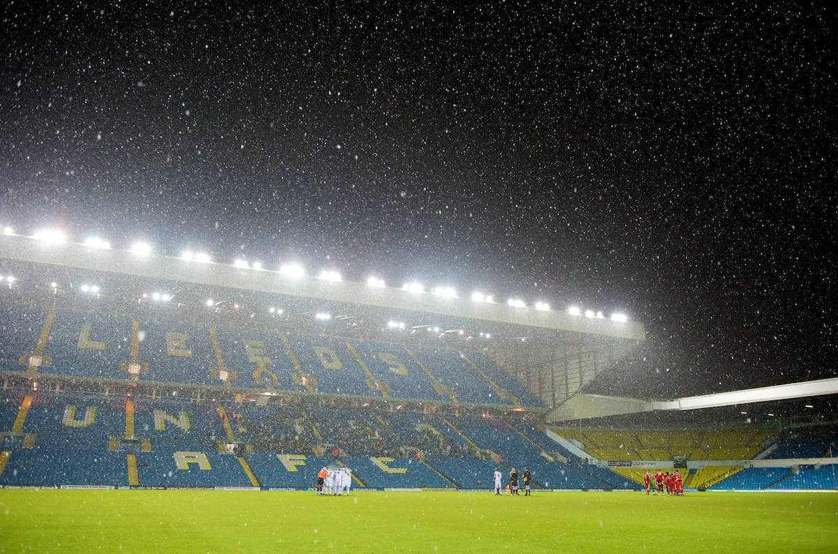 LEEDS, ENGLAND - Tuesday, December 2, 2008: Snow drifts down illuminated by the Elland Road floodlights during the FA Youth Cup 3rd Round match between Leeds United and Liverpool. (Photo by David Rawcliffe/Propaganda)