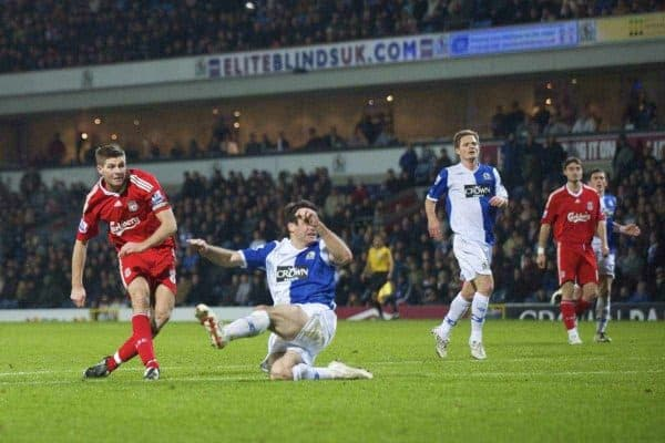 BLACKBURN, ENGLAND - Saturday, December 6, 2008: Liverpool's captain Steven Gerrard MBE scores the third goal against Blackburn Rovers to seal the three points at 3-1 during the Premiership match at Ewood Park. (Photo by David Rawcliffe/Propaganda)