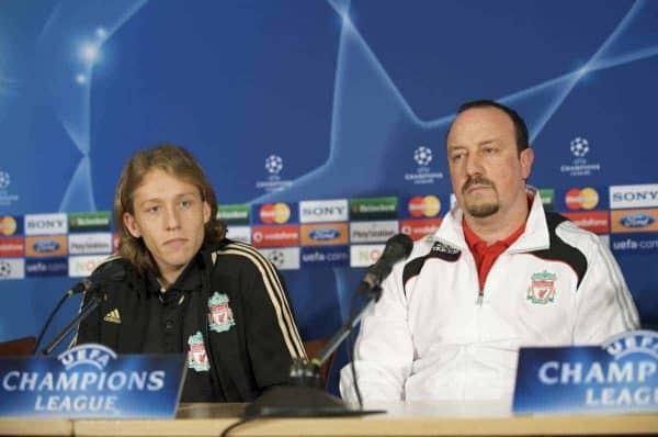 EINDHOVEN, THE NETHERLANDS - Monday, December 8, 2008: Liverpool's manager Rafael Benitez and Lucas Leiva during a press conference at the Philips Stadium ahead of the final UEFA Champions League Group D mach against PSV Eindhoven. (Photo by David Rawcliffe/Propaganda)