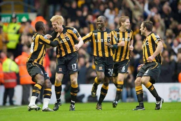 LIVERPOOL, ENGLAND - Saturday, December 13, 2008: Hull City's Paul McShane celebrates scoring the opening goal against Liverpool with his team-mates during the Premiership match at Anfield. (Photo by David Rawcliffe/Propaganda)