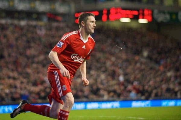 LIVERPOOL, ENGLAND - Friday, December 26, 2008: Liverpool's Robbie Keane celebrates scoring his side's second goal against Bolton Wanderers during the Premiership match at Anfield. (Photo by David Rawcliffe/Propaganda)