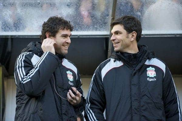 NEWCASTLE, ENGLAND - Sunday, December 28, 2008: Liverpool's goalkeeping coach Xavi Valero and first team coach Mauricio Pellegrino during the Premiership match against Newcastle United at St James' Park. (Photo by David Rawcliffe/Propaganda)