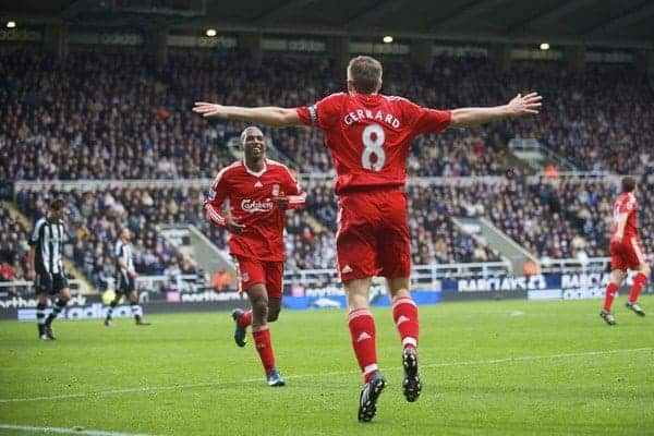NEWCASTLE, ENGLAND - Sunday, December 28, 2008: It's all over now... Liverpool's captain Steven Gerrard MBE celebrates scoring the fourth goal against Newcastle United during the Premiership match at St James' Park. (Photo by David Rawcliffe/Propaganda)