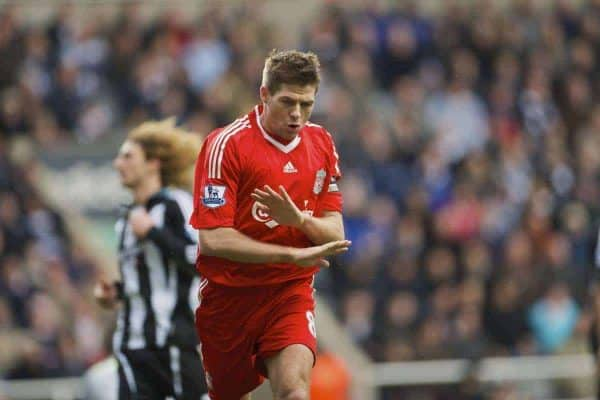 NEWCASTLE, ENGLAND - Sunday, December 28, 2008: It's all over now... Liverpool's two-goal hero captain Steven Gerrard MBE celebrates scoring the fourth goal against Newcastle United during the Premiership match at St James' Park. (Photo by David Rawcliffe/Propaganda)