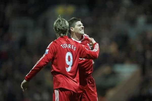 PRESTON, ENGLAND - Saturday, January 3, 2009: Liverpool's captain Steven Gerrard MBE and Fernando Torres celebrate Fernando Torres' late goal to make the final score 2-0 against Preston North End during the FA Cup 3rd Round match at Deepdale. (Photo by David Rawcliffe/Propaganda)