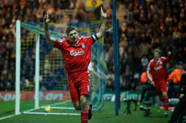 PRESTON, ENGLAND - Saturday, January 3, 2009: Liverpool's captain Steven Gerrard MBE celebrates team-mate Fernando Torres' late goal against Preston North End during the FA Cup 3rd Round match at Deepdale. (Photo by David Rawcliffe/Propaganda)