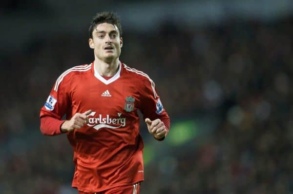 LIVERPOOL, ENGLAND - Monday, January 19, 2009: Liverpool's Albert Riera in action against Everton during the Premiership match at Anfield. (Photo by David Rawcliffe/Propaganda)